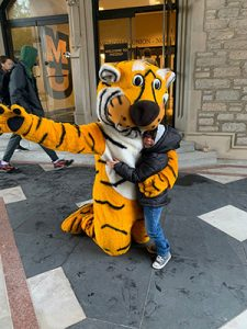 Truman the Tiger hugging child