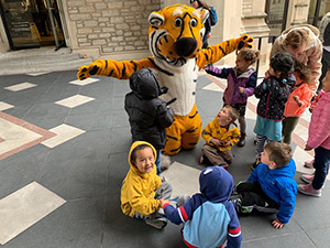 Truman the Tiger with CDL kids
